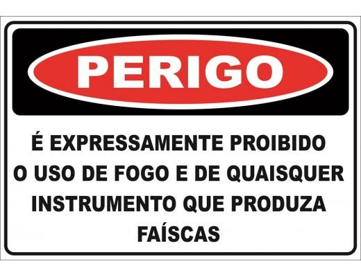 SINALIZAÇÃO PERIGO PROIBIDO FAÍSCAS 19x28