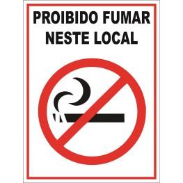 SINALIZAÇÃO PROIBIDO FUMAR 15x20